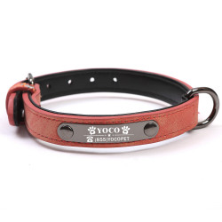 Soft Leather Personalized Dog Collar 6colors