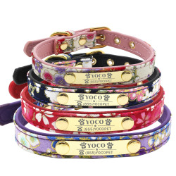 Flower Dog Collar Nylon+PU with Custom Name