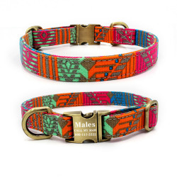 Personalized Laser Engraved Metal Buckle Dog Collar - 5 Cotton pattern