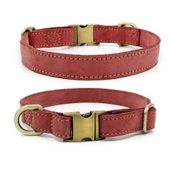 Genuine Leather dog collar Personalized