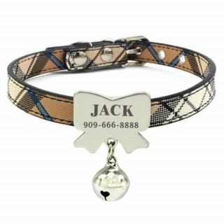 PU Personalized Dog Collar & Tag Small Dogs Cat Pet
