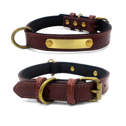 Dog collar leather personalized Brass Name Plate