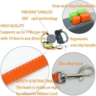 Retractable Pet Dog Double Lead Leash Tangle Dual 2 Dog 50bs Pounds Per Dog