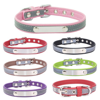 Reflective Leather Dog Collar Personalized Collar