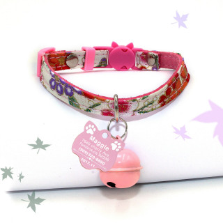 Flowers Cat Collar tag, Personalized Cat Collars